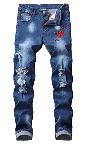 FEESON Men's Active Distressed Broken Stretch Rose Embroidered Denim Jeans Blue