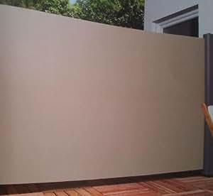 Home & Garden 300640514-HE - Toldo lateral (tela, 180 x 300 cm, extraíble), color crema y gris oscuro