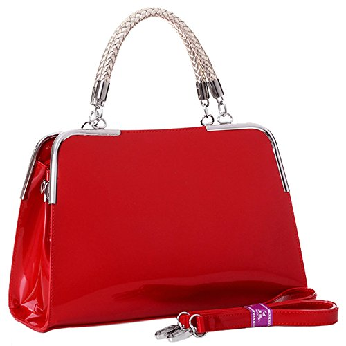 MG Collection Polyurethane Patent Leather Satchel Bag, Red, One Size