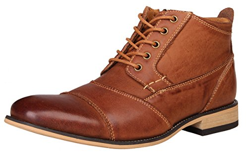 (Kunsto Men's Genuine Leather Oxfords Dress Ankle Boots with Zipper Brown Size)