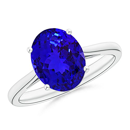 December Birthstone - Classic Prong Set Solitaire Oval Tanzanite Cocktail Ring for Women in Platinum (10x8mm (Oval Tanzanite Platinum Ring)