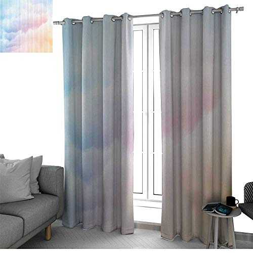 (bybyhome Apartment Decor Collection Thermal Insulating Window Curtains Fluffy Dreamy Gradient Faded Pastel Cloud Ethereal Fog Sublime Rainbow Featured Decor Bedroom Curtains Blue Pink W84 x L96 Inch)