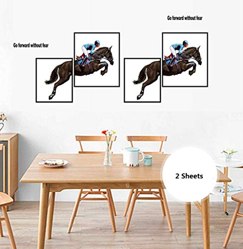 BIBITIME 2 Sheets Equestrian Olympic Game Wall Decals Go Forward Without Fear Quotes Photo Frame Design Athlete Riding Horse Vinyl Stickers Art Murals for Living Room Sport Fans Bedroom Decor