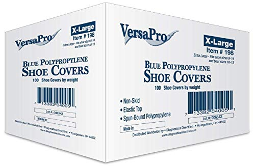 VersaPro 198 Lab Safety Disposable PPSB Shoe Cover, X-Large, 100 Piece