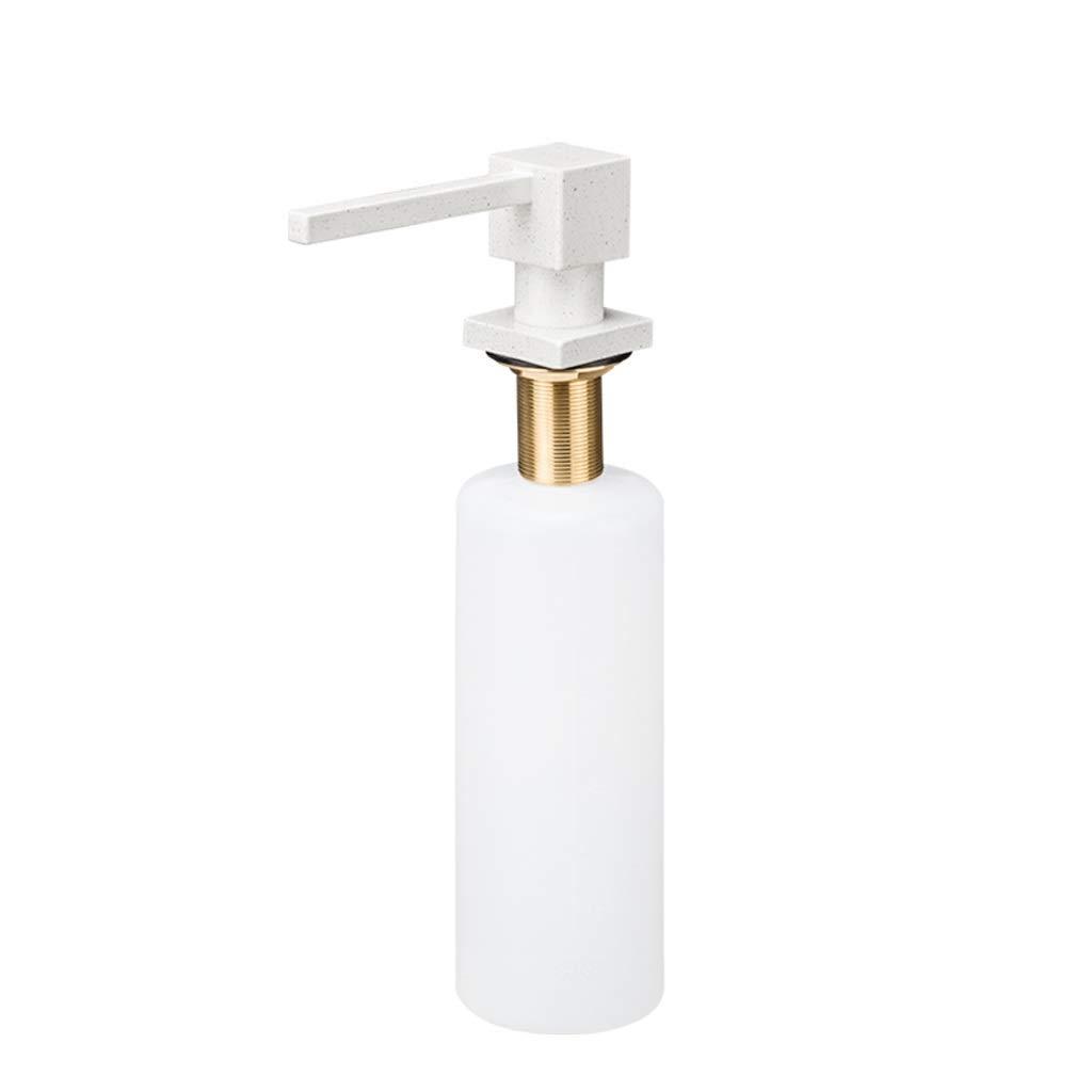 Soap Dispenser for Kitchen Sink Brass Stainless Steel Quartz Sand Coating Rotatable Easy Installation 320ml