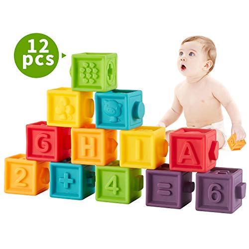 Bu-buildup Squeeze Baby Blocks, Soft Building Blocks for Toddlers, Bath Toys, Teething Chewing Toys, Educational Baby Toys with Animals, Shapes, Textures, Numbers, 12 PCS for Baby 6 Month & Up