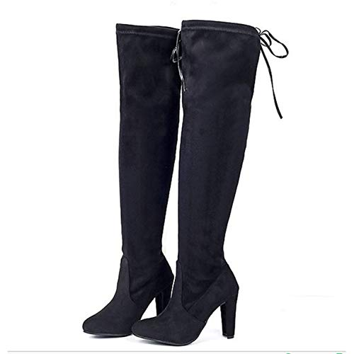 HaHapo Women Boot Women Over The Knee Boots Sexy High Heels Shoes Woman Female Slim Thigh High Boots Botas 35-43,Black,6