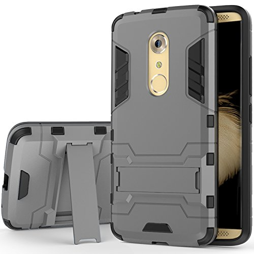 ZTE Axon 7 Case, SUNGUY Dual Layer Armor Hard Slim Hybrid Kickstand Phone Protective Cover Case for ZTE Axon 7- Grey