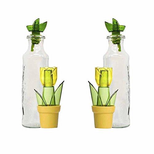 Juego de 2 aceiteras de cristal y 2 especieros HEREVIN de acrílico'Flores', Verde