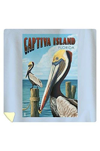 Lantern Press Captiva Island, Florida - Brown Pelican 46689 (88x88 Queen Microfiber Duvet Cover)