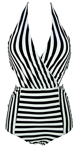 COCOSHIP Black & White Striped Plunging Neckline One Piece Bather Swimsuit High Waisted Front Cross Pin Up Monokini Swimwear 6