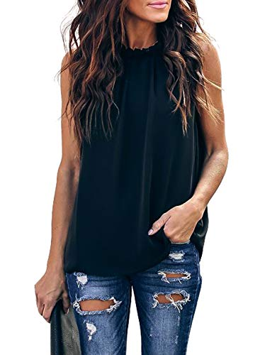 HOTAPEI Womens Plus Size Summer Casual Sleeveless Ruffle Trim High Neck Double Lined Chiffon Loose Fit Pleated Tank Tops Blouses Cami Shirts Black XXL