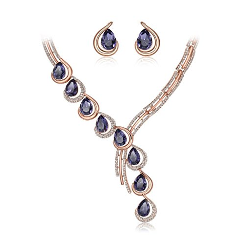 IUHA Austrian Crystal Eye-catching Statement Necklance and Earrings Luxury Jewelry Sets Wedding Gift by IUHA