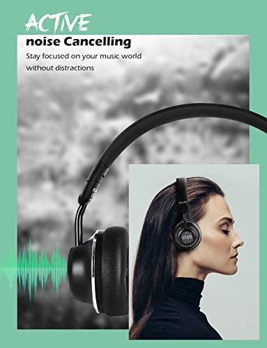 Active Noise Cancelling Headphones-SuperEQ S2 Bluetooth On Ear Headphones with CVC 8.0 Mic, Deep Bass, 25H Playtime, 40mm Drivers, Memory Foam Ear Cups for Travel Online Class Office (Black) 411GXhKAZTL