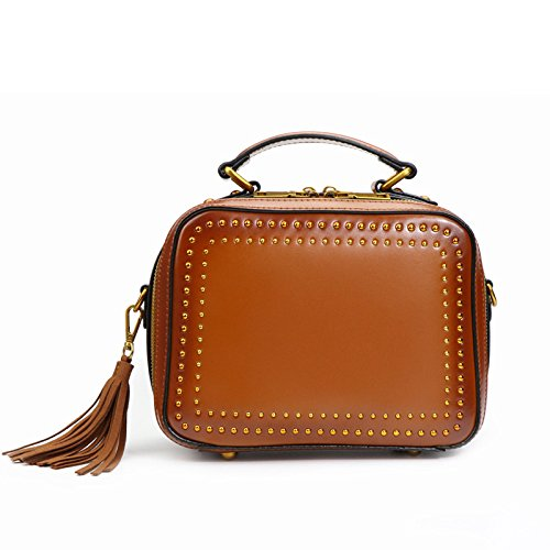 Tassels Rivet Simple Bags Bags Bags MENUDOWN amp; Leather Bags Women's Diagonal Brown Winered Trends Rivets Summer Fashion Shoulder Women's vqqw5O0