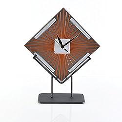 Art Deco Sunburst Glass Desk Clock with Stand