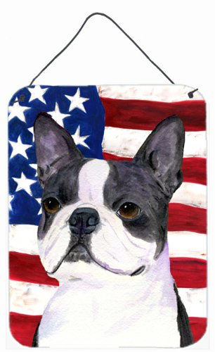 Usa Boston Wall (Caroline's Treasures SS4021DS1216 Usa American Flag with Boston Terrier Wall or Door Hanging Prints, 16
