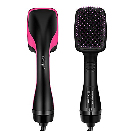 - Guckmall Hot Air Brush, 2-in-1 negative ion Straightening Brush Salon Hot Air Paddle styling Reduce Frizz and Static Design