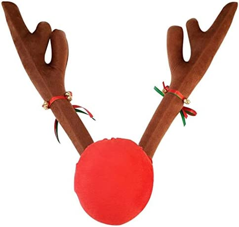 Mallallah Nez Rouge Elk No/ël D/écoration Voiture Peluche Ornement Wapiti 3 PCS Renne Rudolf Corne Bois et Nez du cerf