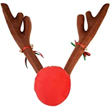 Tezam Christmas Car Decoration Plush Rudolf Reindeer Car Antler and Red Nose Set with Jingle Bells, Reindeer Antlers for Cars