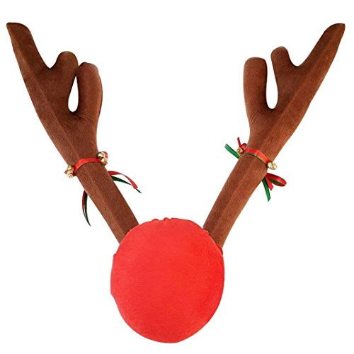 Tezam Christmas Car Decoration Plush Rudolf Reindeer Antler and Red Nose Set with Jingle (Reindeer Car Decorations)