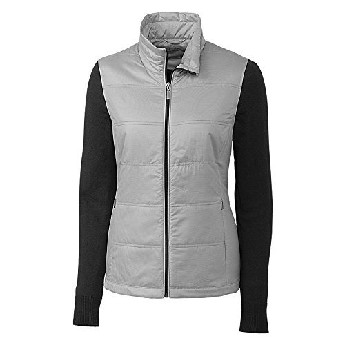 (Cutter and Buck Stripe Cora Quilted Sweater Golf Jacket 2018 Women Black XX-Large)