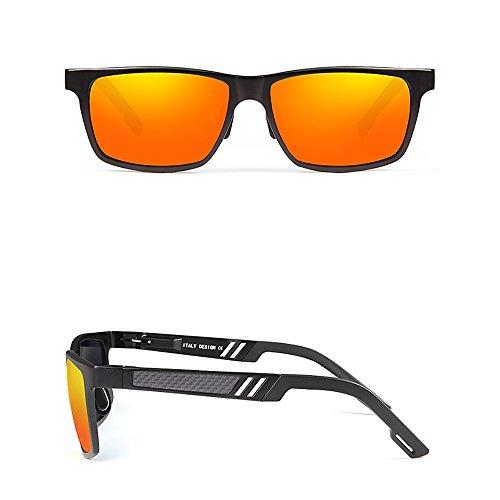Gafas gafas sol anti anti sol Hombres de reflejo de Box Metal lente naranja UV rP6rSqxw