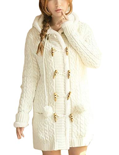 Yeokou Women's Sherpa Lined Twisted Long Hooded Toggle Cardigan Sweaters Jackets (One Size, White) ()