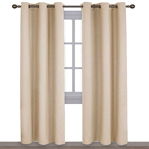NICETOWN Thermal Insulated Eyelet Top Room Darkening Panels/Curtains/Drapes for Bedroom (2 Panels, W42 x L84 -Inch, Biscotti Beige) (Cold For Patio Climate Best Material)