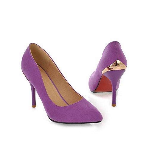 Reino Unido alto bombas Suede Stilettos con picos cerrada sólidas punta Womans suela VogueZone009 tacón 5 2 púrpura antideslizante IxfwTaHq
