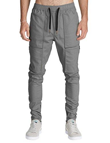 ITALY MORN Mens Cargo Pants Casual Chino Slim Elastic Waist Multi Pockets (Mid Grey, Medium)