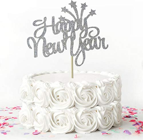 Starsgarden Silver Glitter Happy New Year 2020 Cake Topper, Hello 2020 Party Decorations, Party Toppers for New Years Eve Party Decorations Supplies(Silver New Year)