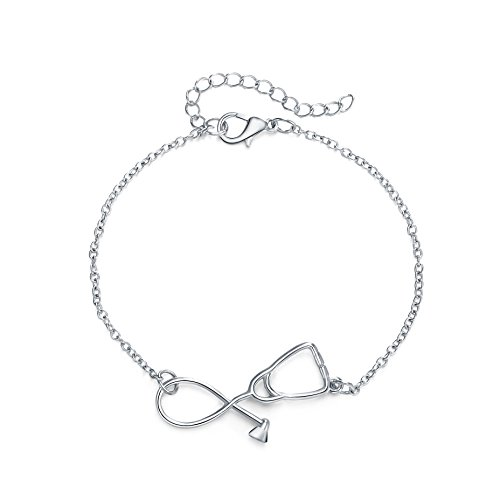 Rosa Vila Stethoscope Heart Bracelet, Thoughtful Gift For Nurses, Physicians Assistants, and Doctors, Medical Student and Nursing Jewelry (Silver tone) - Future Jewelry