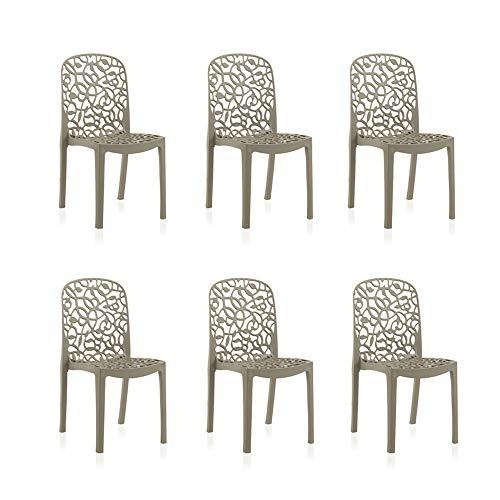 Shaf Flora Pack de 6 chaises d'extérieur/Intérieur, Marron