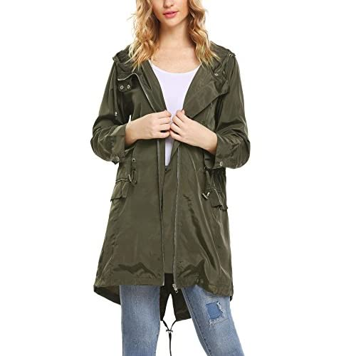 Nice ELESOL Women Lightweight Hoodie Windbreaker Military Anorak Jacket Trench Coat supplier