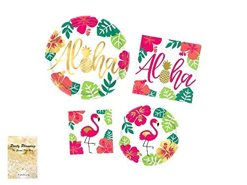 Luau Party Supplies, Gold Metallic, Flamingo Aloha Design, 16 Guests, Paper Bundle of 4 Items: Dinner Plates, Dessert Plates, Lunch Napkins and Beverage Napkins]()