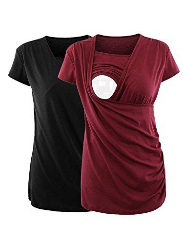 2 Side Womens T-shirt (AnnAnn Womens Mama Short Sleeve Nursing Top Ruched Side-Shirred Breastfeeding Tee Shirts 2 Pack Black Wine Red L)