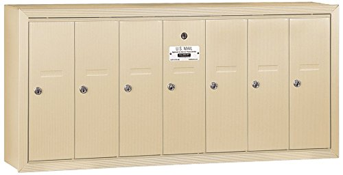 Salsbury Industries 3507SSP Surface Mounted Vertical Mailbox with Master Commercial Lock, Private Access and 7 Doors, Sandstone by Salsbury Industries