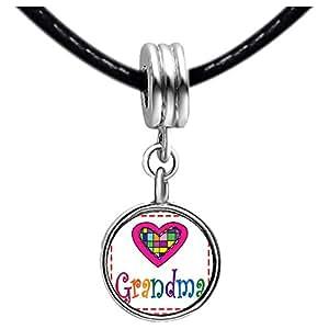 Chicforest Silver Plated Colorful Grandma Heart Photo Peridot Crystal August Birthstone Flower dangle Charm Beads Fits Pandora Bracelet