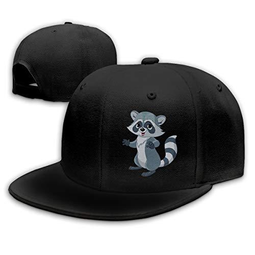 Sakanpo Cute Raccoon Flat Visor Baseball Cap, Fashion Snapback Hat Black ()