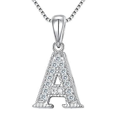 FANZE Women's 925 Sterling Silver Cubic Zirconia Initial Alphabet A-Z 26 Letters Pendant Necklace