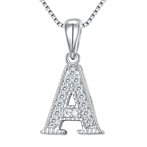 Silver Pendant Initial Sterling (FANZE Women's 925 Sterling Silver Cubic Zirconia Initial Alphabet 26 Letters A Pendant Necklace)