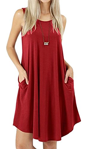 Domple Womens Sleeveless Casual Wine Pocket Tank Red Sundress Dress Round Neck Solid qqHrAnZ