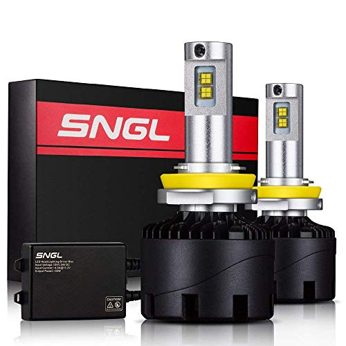 SNGL Super Bright LED Headlight Bulbs Conversion Kit - Adjustable-Beam - H11 (H8, H9) - 110w 12,400Lm - 6000K Bright White - 2 Yr Warranty - For Dodge Ram Jeep Chrysler GMC Silverado
