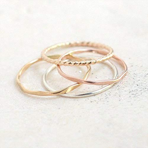 sterling silver stack rings twist silver stacking rings gift for her. fashion jewelry hammered SET of FOUR stackable silver rings stardust smooth minimalist rings