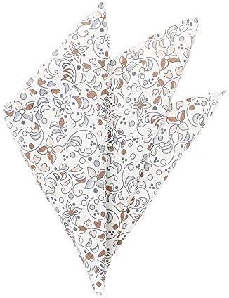 (ザ・スーツカンパニー) Daniel/フラワー&リーフプリント シルクポケットチーフ グレー×ブラウン×ホワイト