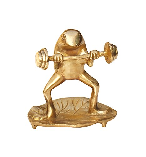 SouvNear Brass Items Frog Decor – Brass Animal Statue Frog Statue Doing a Power Work Out on a Leaf – Collectable Figurine Sculpture 5 Inch – Home D cor