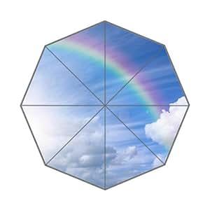 Light Blue Sky Beautiful Rainbow Custom Foldable Umbrella Men Women Kid's Umbrella Travel Umbrella Anti UV
