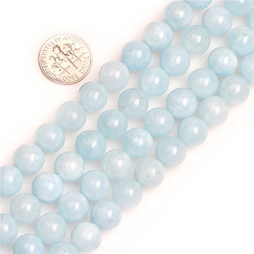 Blue Jade Beads - GEM-inside Jade Gemstone Loose Beads Amazonite Light Blue 6mm Stone Semi Precious Crystal Energy Stone Power Beads for Jewelry Making 15