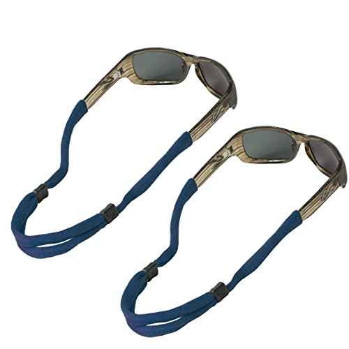 Chums No Tail Adjustable Cotton Eyeglass and Sunglass Retainer / Strap, Navy Blue (2 Pack)